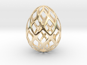 Trellis - Decorative Egg - 2.3 inches in 14k Gold Plated Brass