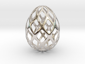 Trellis - Decorative Egg - 2.3 inches in Rhodium Plated Brass