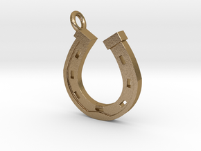 Horse Shoe Pendant in Polished Gold Steel