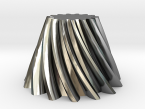 Bevel helical gear Module 4 in Fine Detail Polished Silver