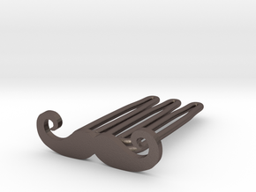 Mustache for beard - front wearing in Polished Bronzed Silver Steel