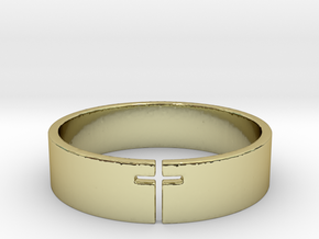 Cross Ring Size 10 in 18k Gold Plated Brass