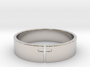 Cross Ring Size 10 in Rhodium Plated Brass
