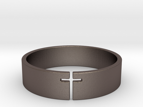 Cross Ring Size 10 in Polished Bronzed Silver Steel