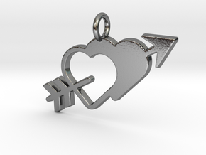 Love Arrow Pendant - Amour Collection in Polished Silver