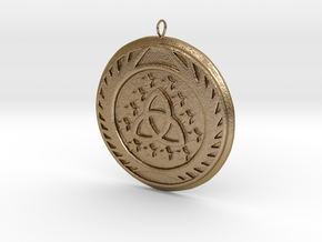 [The 100] Skaikru Symbol Pendant in Polished Gold Steel