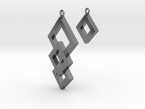 Three Squares Earrings - Asymmetrical in Polished Silver