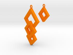Three Squares Earrings - Asymmetrical in Orange Processed Versatile Plastic