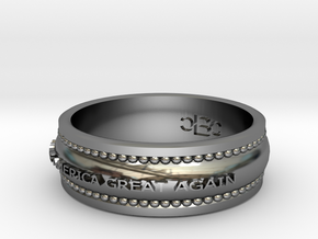 Size 9 Make America Great Again Ring in Fine Detail Polished Silver