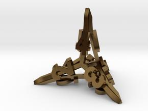 'Radial' D4 balanced gaming die in Polished Bronze