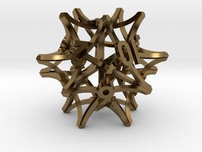 'Radial' D12 balanced gaming die in Polished Bronze