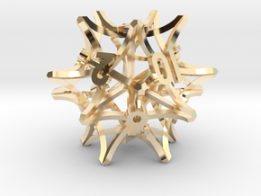 'Radial' D12 balanced gaming die in 14k Gold Plated Brass