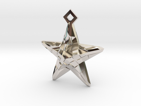 Stylised Sea Star Pendant in Rhodium Plated Brass