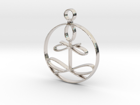 Yoga Glee Pendant with larger chain loop in Rhodium Plated Brass