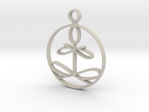Yoga Glee Pendant with larger chain loop in Natural Sandstone