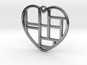 Mondrian Heart in Fine Detail Polished Silver
