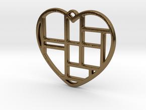 Mondrian Heart in Polished Bronze