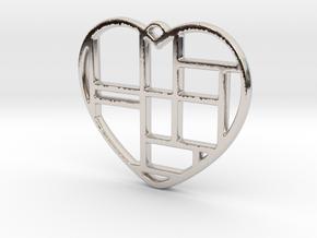 Mondrian Heart in Rhodium Plated Brass