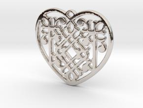 Victorian Heart in Rhodium Plated Brass