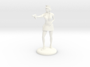 Lady Cop pointing her gun - 28mm version in White Processed Versatile Plastic