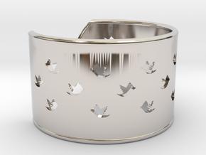 Bird Bracelet X Small Ø53 Mm/Ø2.086 inch in Rhodium Plated Brass
