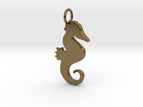 Seahorse pendant in Polished Bronze