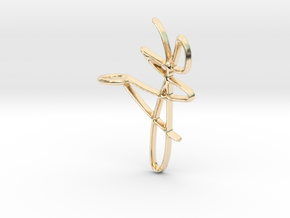 Scribble Pendant in 14K Gold