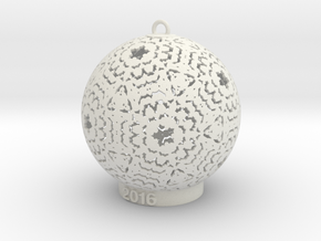 2016 Christmas Ornament V1 in White Natural Versatile Plastic