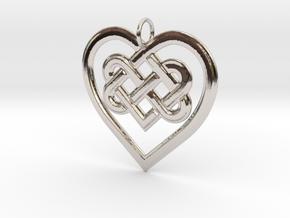 Celtic Heart Pendant in Rhodium Plated Brass