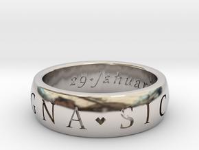 Size 7 Sir Francis Drake, Sic Parvis Magna Ring in Platinum