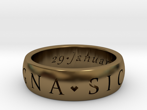 Size 7 Sir Francis Drake, Sic Parvis Magna Ring in Polished Bronze