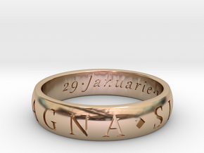 Size 13.5 Sir Francis Drake, Sic Parvis Magna Ring in 14k Rose Gold