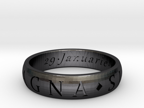 Size 13.5 Sir Francis Drake, Sic Parvis Magna Ring in Polished and Bronzed Black Steel