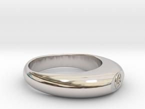 Streamlined Triangle Ring Ø0.757 inch/Ø19.22mm in Rhodium Plated Brass