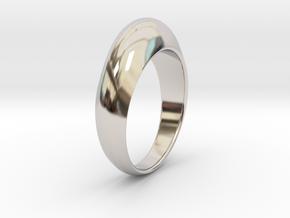 Ø0.674 inch Streamlined Ring Model B Ø17.13 mm in Rhodium Plated Brass