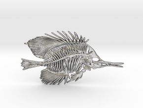 Butterfly Fish Skeleton Pendant in Natural Silver