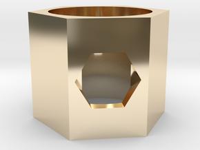GEMELA Hexagon Ring in 14k Gold Plated Brass