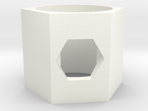 GEMELA Hexagon Ring in White Processed Versatile Plastic
