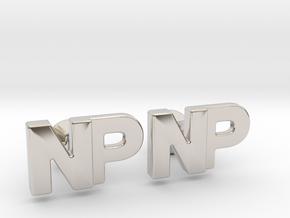 Monogram Cufflinks NP in Rhodium Plated Brass