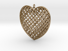 Pendent Heart  in Polished Gold Steel