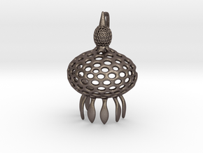 Anthocyrtium Radiolarian Pendant in Polished Bronzed Silver Steel