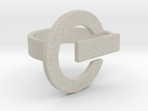 Power Button Ring - 20 mm in Natural Sandstone