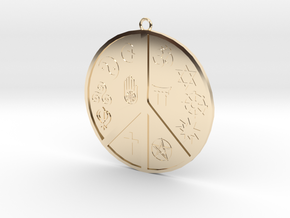 Religious Peace Pendant in 14K Yellow Gold