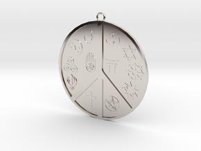Religious Peace Pendant in Platinum