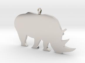 Rhino Silhouette Pendant in Rhodium Plated Brass