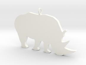 Rhino Silhouette Pendant in White Processed Versatile Plastic