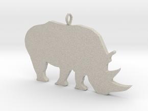 Rhino Silhouette Pendant in Natural Sandstone