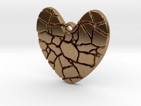 Broken heart pendant in Natural Brass
