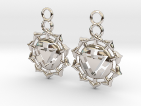 Chakra Manipura Earrings in Rhodium Plated Brass