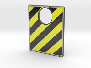 Pinball Plunger Plate - Hazard Tape in Glossy Full Color Sandstone